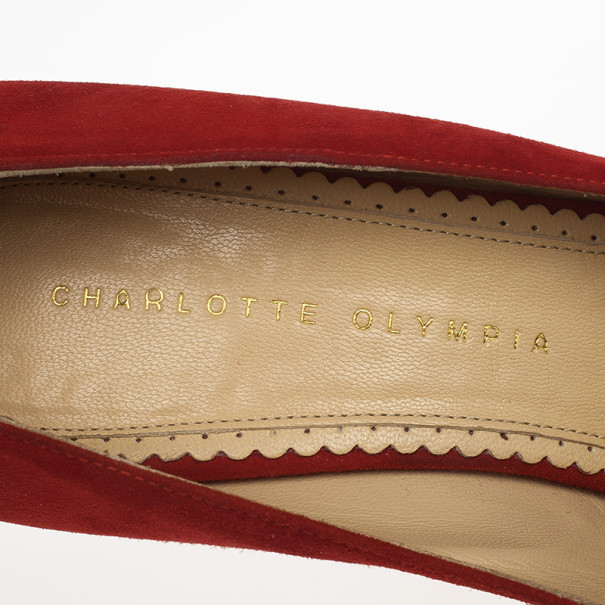 Charlotte Olympia Red Suede Delphine Heart Detail Platform Pumps Size 40