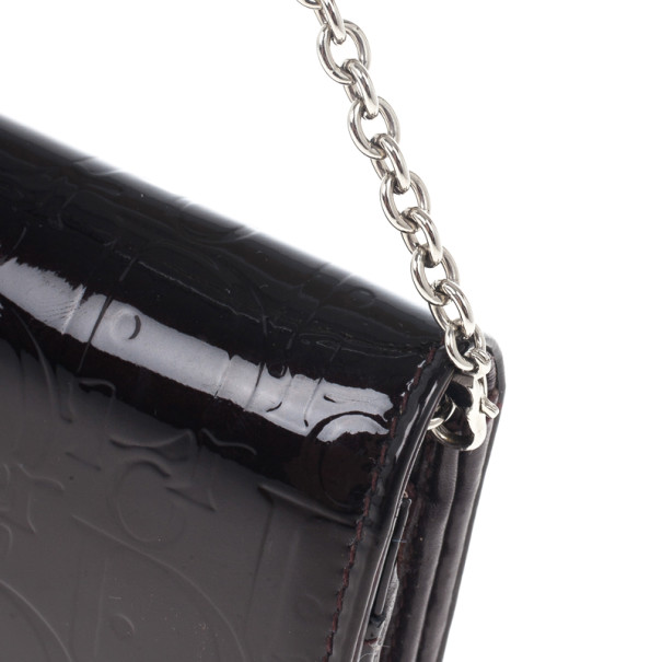 Dior Amethyste Patent Logo Embossed Ultimate Continental Chain Wallet
