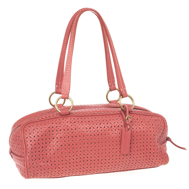 Miu Miu Pink Perforated Boston Bag