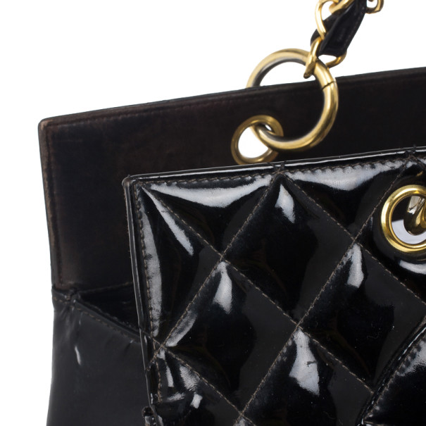 Chanel Black Vintage Patent Grand Shopping Tote GST