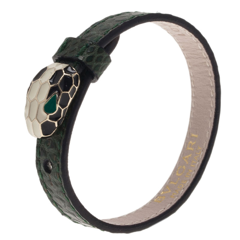 Bvlgari Serpenti Green Karung Leather Bracelet