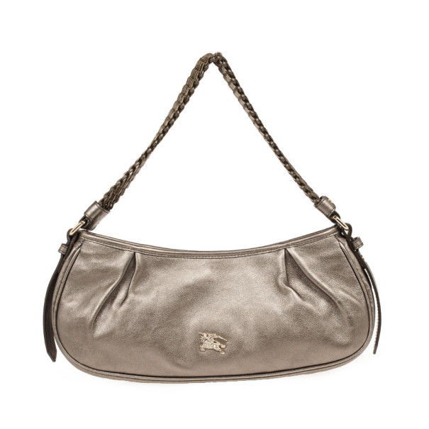Burberry Silver Medium Metallic Grainy Leather Hobo