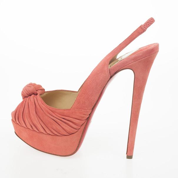 Christian Louboutin Pink Suede Jenny Knotted Slingback Platform Sandals Size 39