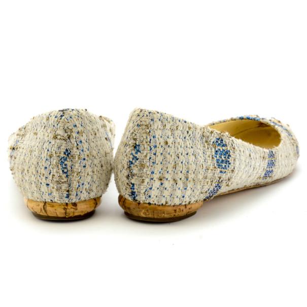 Chanel Tweed Lurex Swarovski Crystal Studded Ballet Flats Size 37