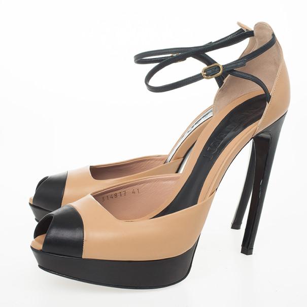 Alexander McQueen Blush Bi-Colour Platform Peep Toe Sandals Size 41