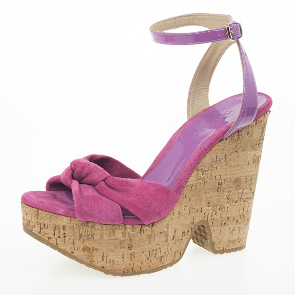 Jimmy Choo 'Gleam' Pink Suede Patent Leather Cork Wedge Sandals Size 39