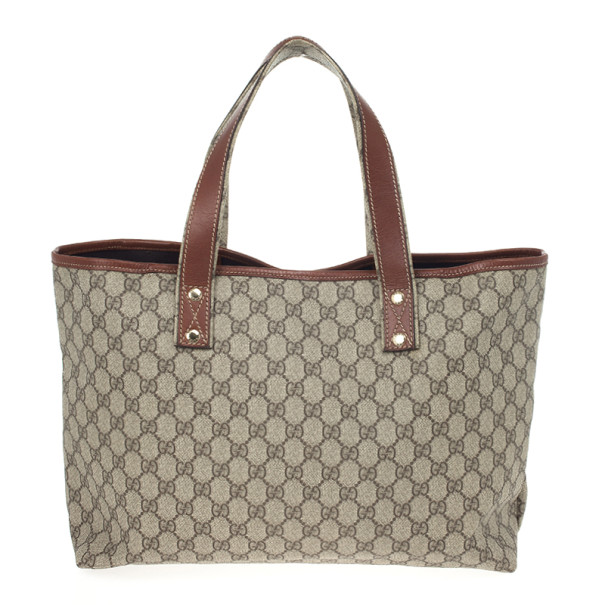 Gucci Beige Coated Canvas Web Loop Tote