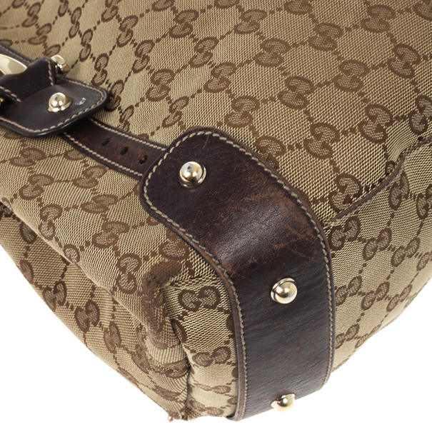 Gucci Monogram Large Pelham Tote with Brown Leather Trim