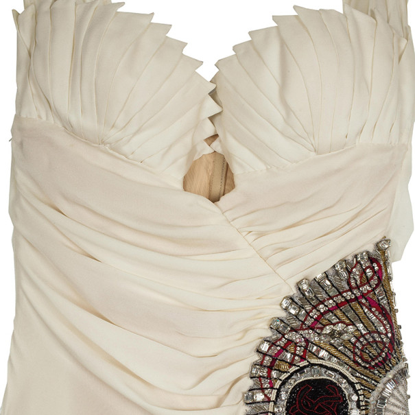 Roberto Cavalli Embellished Ruched Waist Gown M