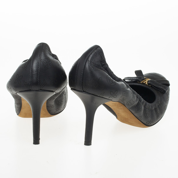 Louis Vuitton Black Leather Mahina Elba Ballet Pumps Size 37