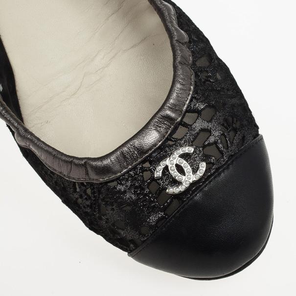 Chanel Black Eyelet Cutout Cap Toe Ballet Flats Size 38