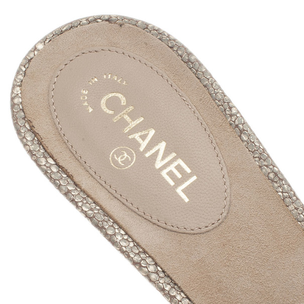 Chanel Gold Leather Pearl CC Slides Size 38.5