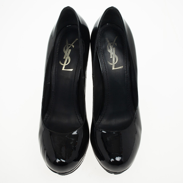 Saint Laurent Paris Black Patent Palais Curvy Platform Pumps Size 38.5