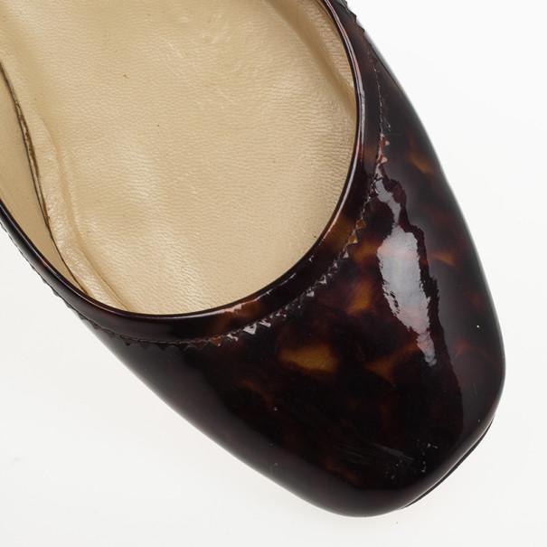 Christian Louboutin Tortoise Shell Patent Square Toe Ballet Flats Size 40
