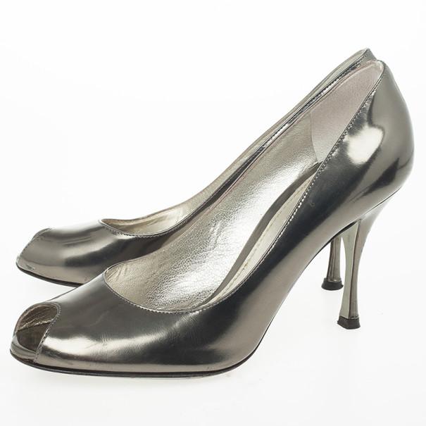 Dolce and Gabbana Metallic Peep Toe Pumps Size 38.5