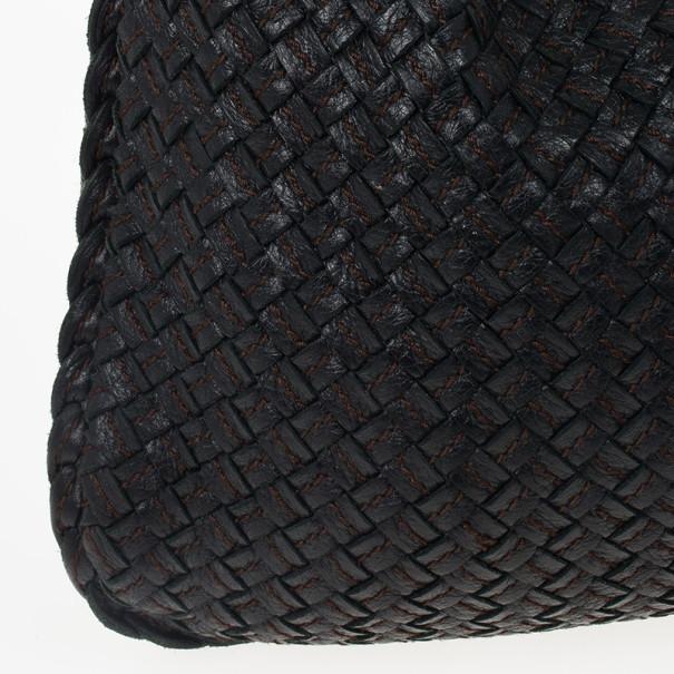 Bottega Veneta Black Textured Intrecciato Hobo