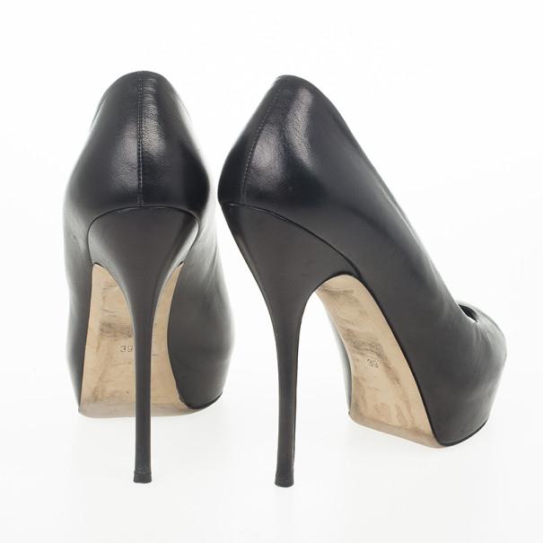 Gucci Black Leather Sofia Peep Toe Platform Pumps Size 39