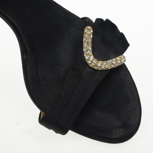 Giuseppe Zanotti Black Satin Crystal D'orsay Pumps Size 38.5
