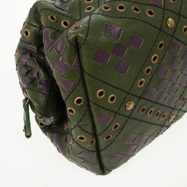 Bottega Veneta Green and Purple Intrecciato Bowling Bag