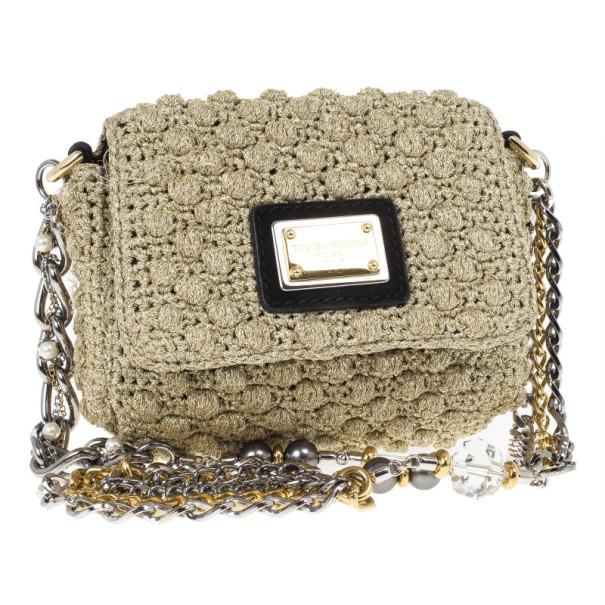 Dolce and Gabbana Sicily Micro Crochet Flap Bag