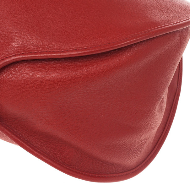 Christian Dior Red Leather Medium 61 Tote
