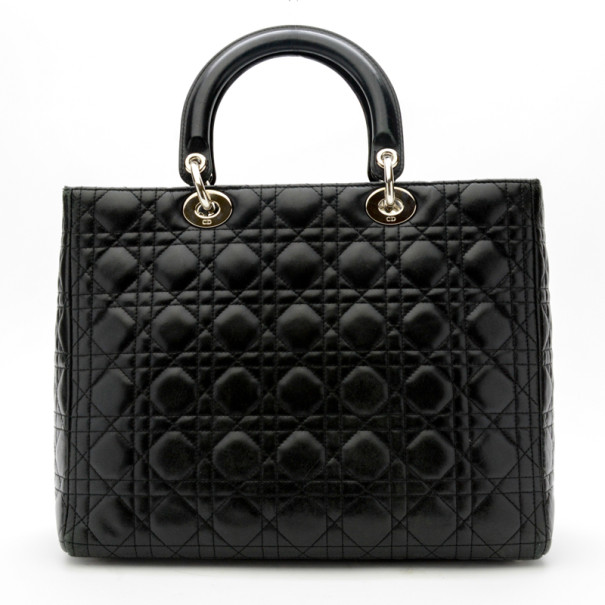 Christian Dior Black Cannage Lambskin 'Lady Dior' Large Top Handle Tote
