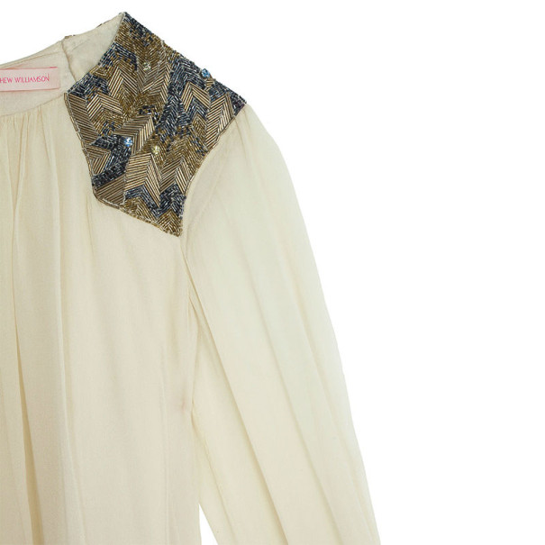Matthew Williamson Shoulder Embellished Silk Top L