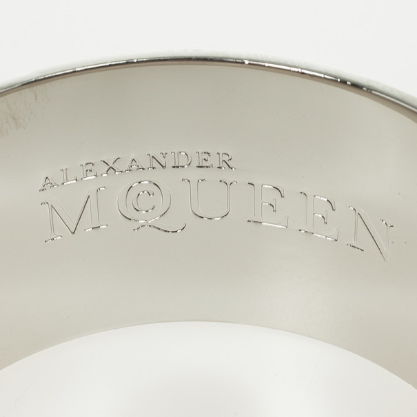 Alexander McQueen Skull Printed White Resin Large Bangle