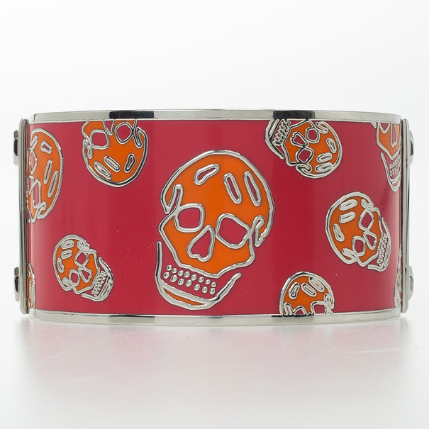 Alexander McQueen Skull Printed Red Resin Large Bangle