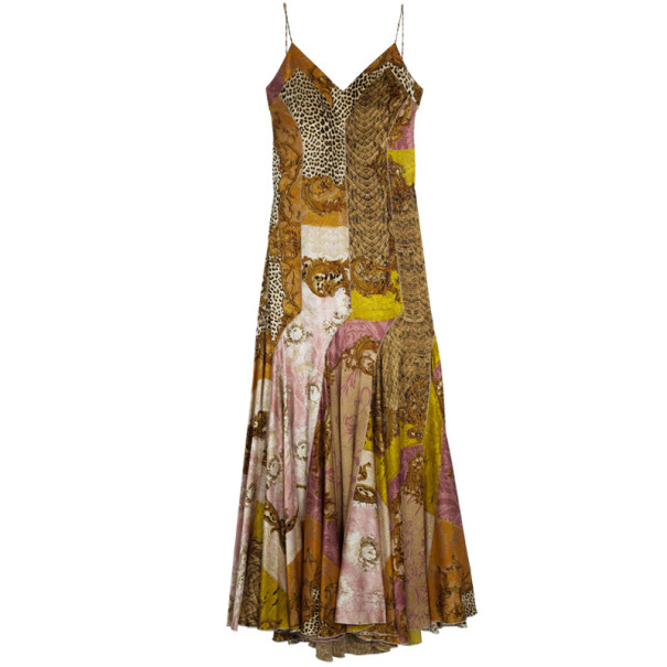 Roberto Cavalli Printed Silk Maxi Cocktail Dress XL