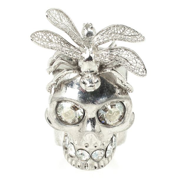 Alexander McQueen Punk Dragonfly Skull Ring 56