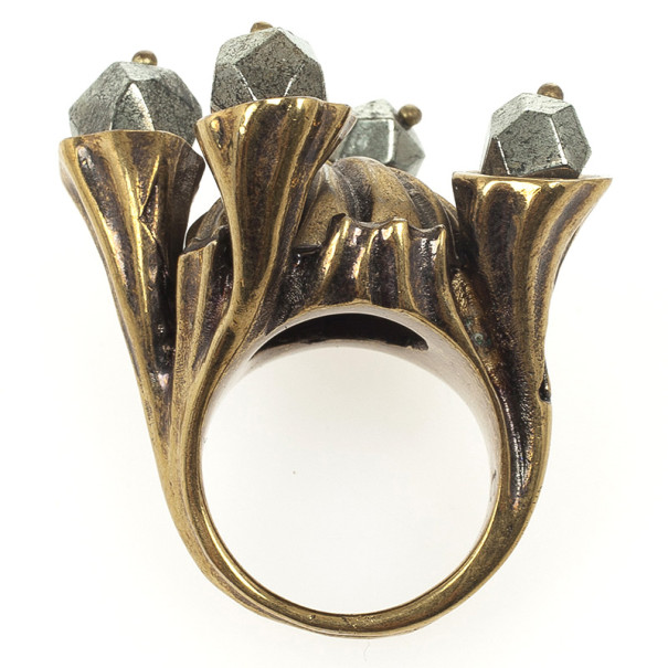 Yves Saint Laurent Shadow Crown Ring Gold Metal Size 52