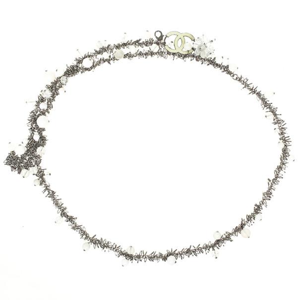Chanel White Beaded Necklace / Belt