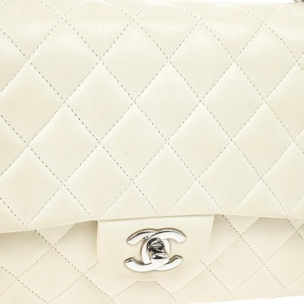 Chanel White Faded Lambskin Medium Flap Bag