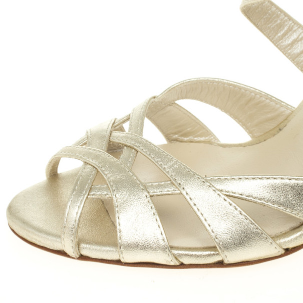 Christian Dior Gold Leather Strappy Sandals Size 36.5