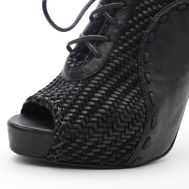 Hermes Black Woven Lace Up Peep Toe Booties Size 37