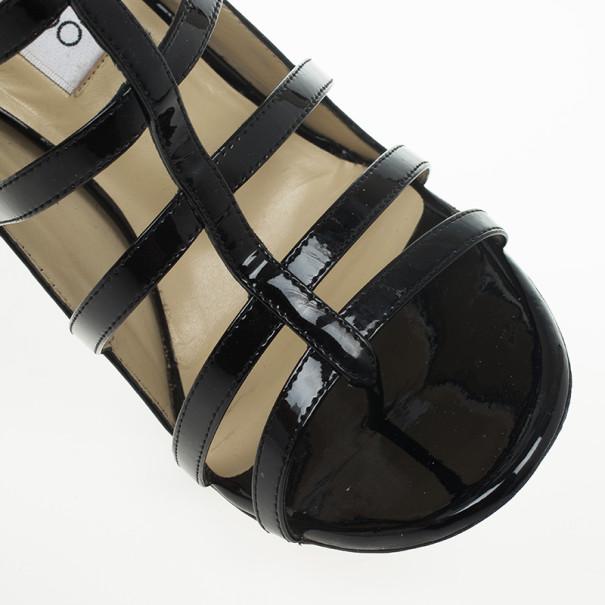 Jimmy Choo Black Patent Estoria Cage Sandals Size 38.5