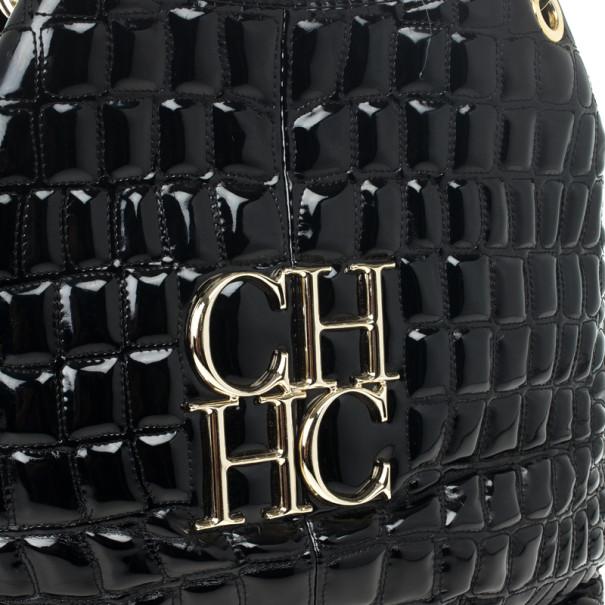 Carolina Herrera Black Patent Quilted Tote