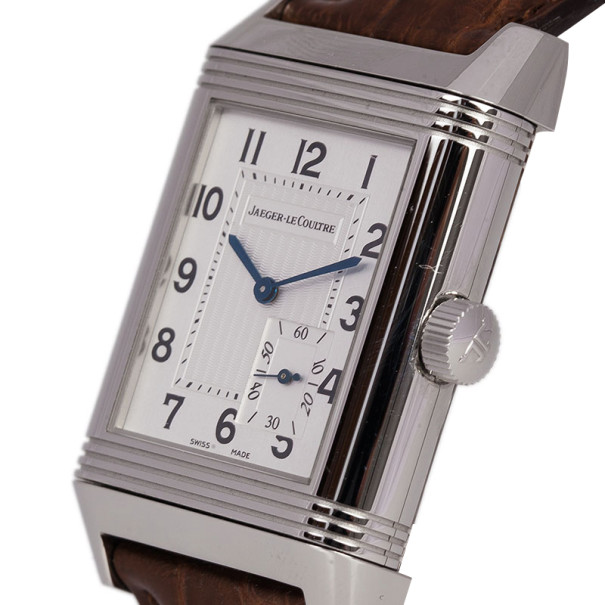 Jaeger LeCoultre White Stainless Steel Reverso Grande Reserve Men's Wristwatch 29MM