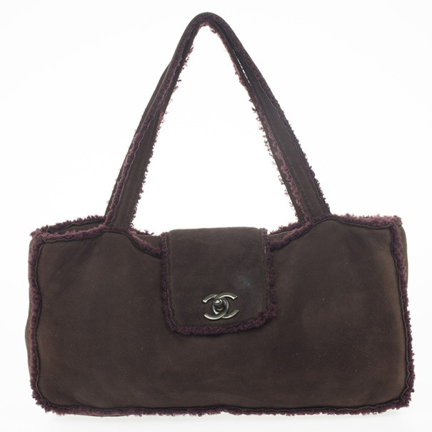 Chanel Brown Suede Shearling Flap Tote