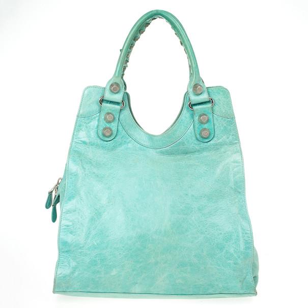 Balenciaga Green Lambskin Giant Folder Bag