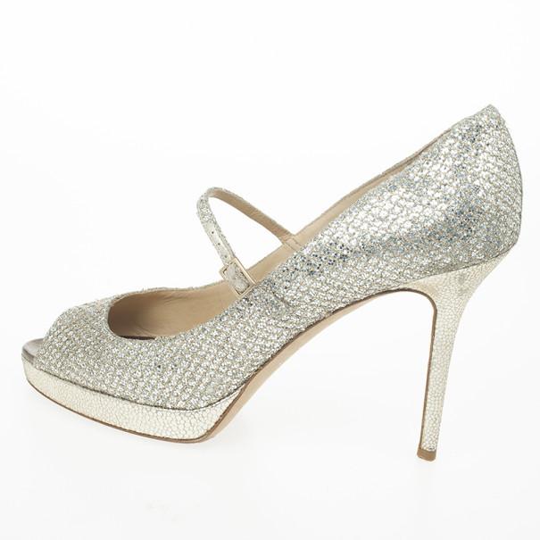 Jimmy Choo Gold Glitter Mary Jane Peep Toe Pumps Size 40