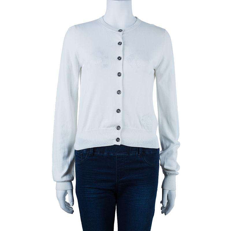 Burberry White Button Down Cardigan M