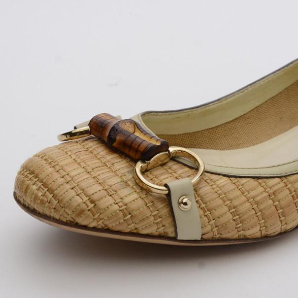 Gucci Raffia Bamboo Horsebit Ballet Flats Size 37.5