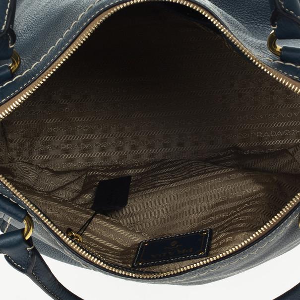 Prada Navy Leather Vitello Daino Tote