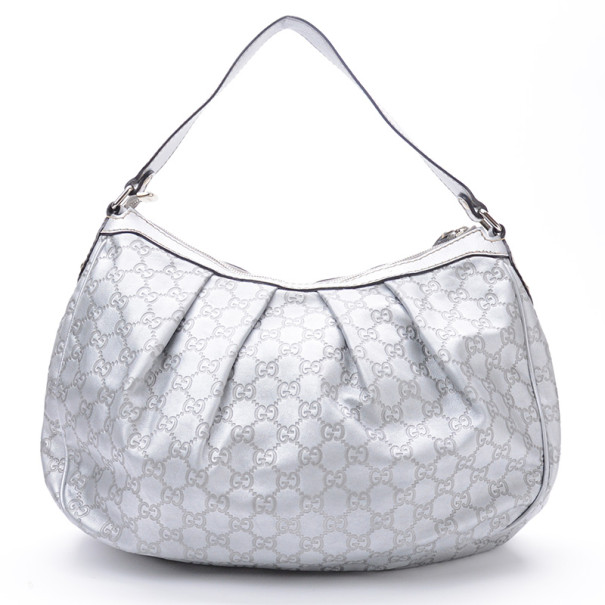 Gucci Silver Guccussima Leather Sukey Medium Hobo