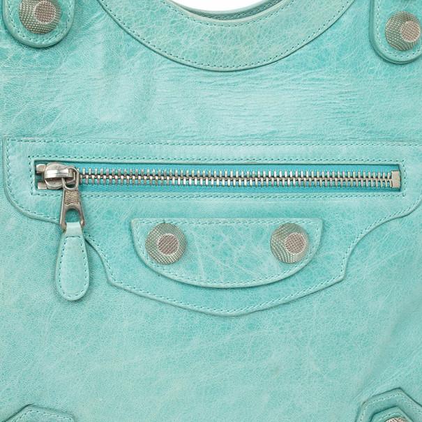Balenciaga Aqua Giant Silver Folder Bag