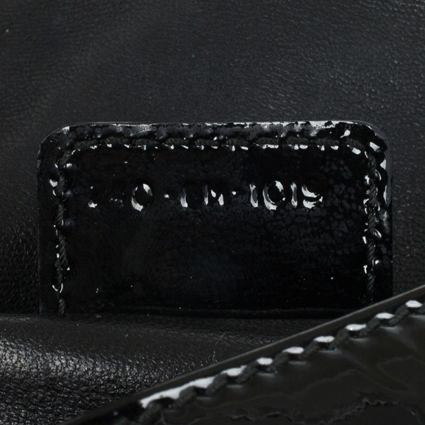 Christian Dior Black Quilted Cannage Patent Leather Lady Dior Clutch Bag