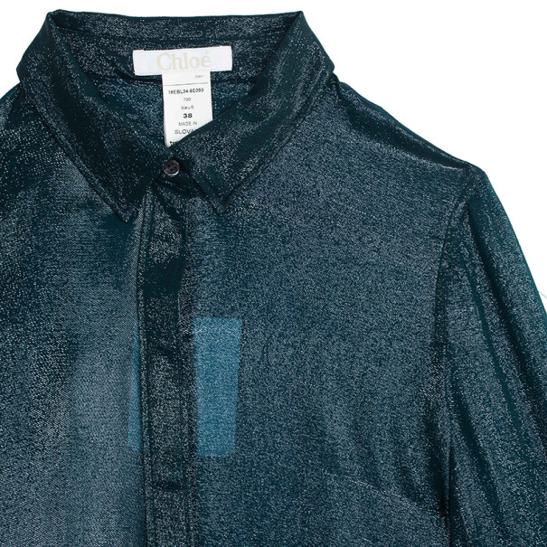 Chloe Silk Shimmery Blue Button Up Shirt M