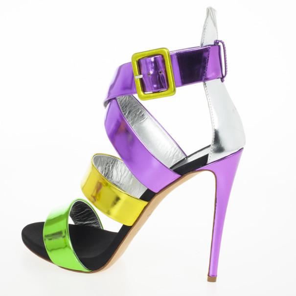 Giuseppe Zanotti Multicolour Metallic Wafer Criss Cross Sandals Size 40.5